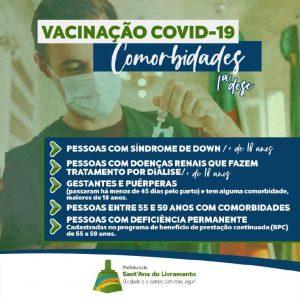 Prefeitura anuncia início da vacinação em pessoas com comorbidades