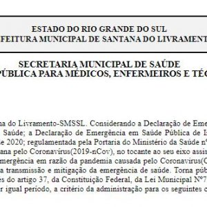 Prefeitura seleciona profissionais da saúde